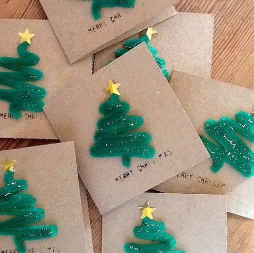 Green Pipe Cleaners For Christmas Card Idea