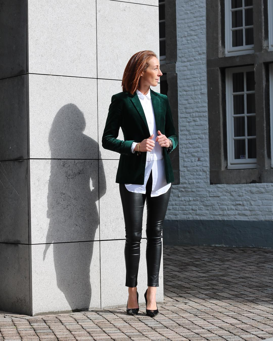 Green Velvet Blazer, Button Down White Long Shirt With Leather Pant