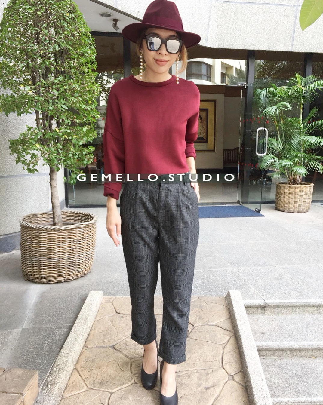 Grey Cropped Plaid Trouser With Maroon Top And Matching Hat
