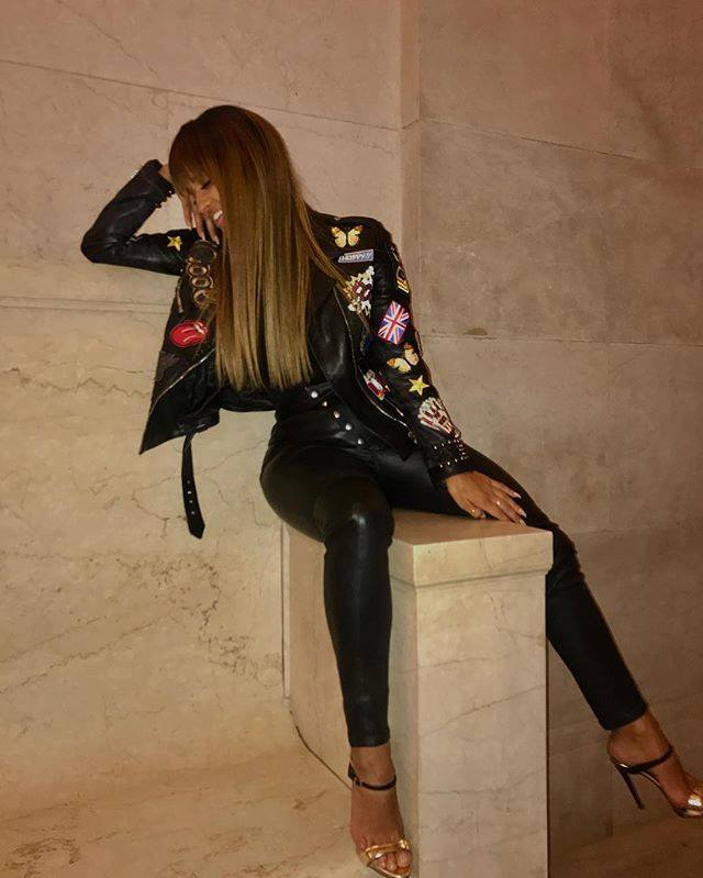 High Waist Stylish Leather Pant With Embroidered Leather Jacket