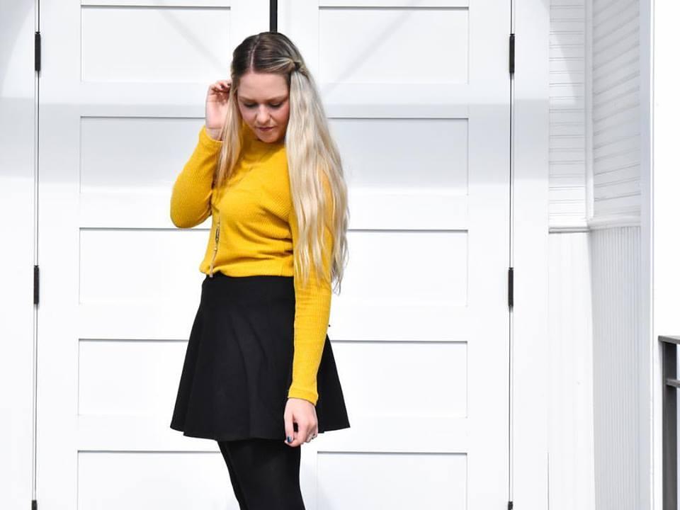 Impressive Mustard Sweater, Skirt And Stockings