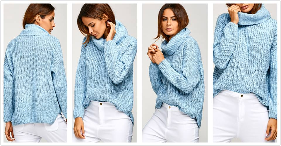 Light Blue Cowl Neck Oversized Sweater With White Jeans
