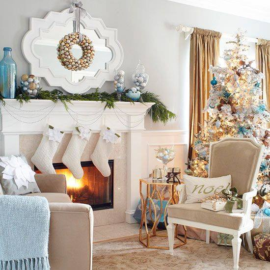 Lovely Christmas Mantel Decoration With Golden & Silver Ornaments Wreath And Beautiful Tree