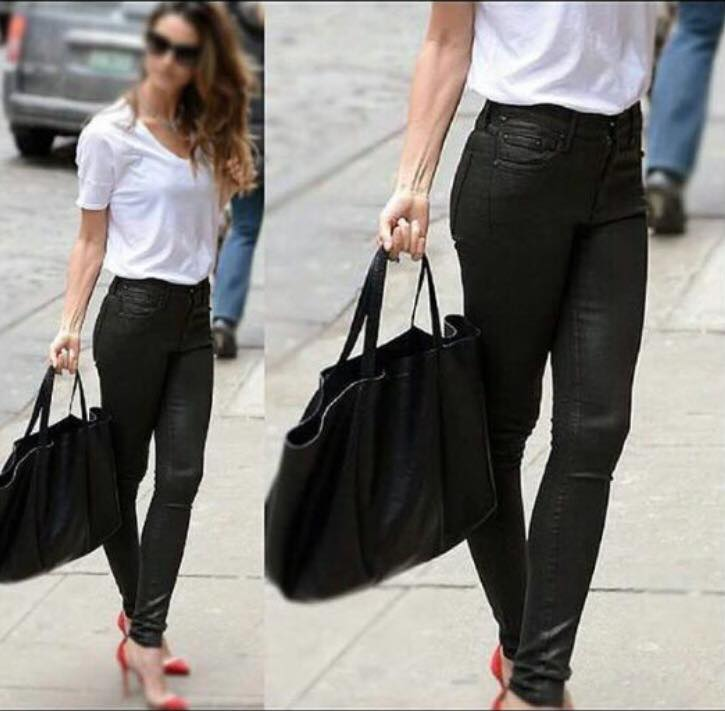 Lovely Leather Pant With White Top Perfect For Office