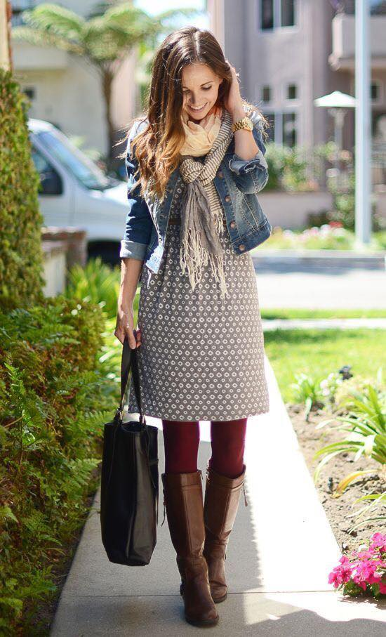 Lovely Midi Paired With Mahroon Stockings, Denim Jacket, Scarf, Handbag And Knee Shoes
