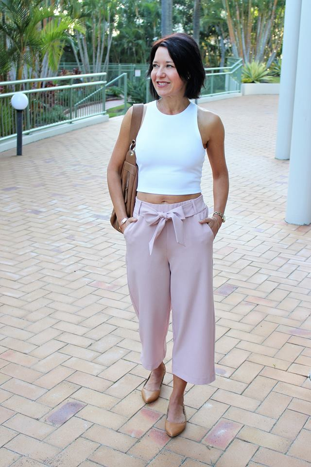 Lovely Pink Funky Cropped Pant With Fitted White Crop Top