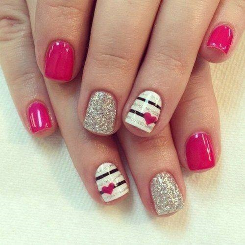 Lovely Pink Glitter Nails