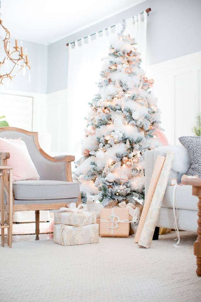 Lovely White Christmas Tree Decorated With Golden Ornaments