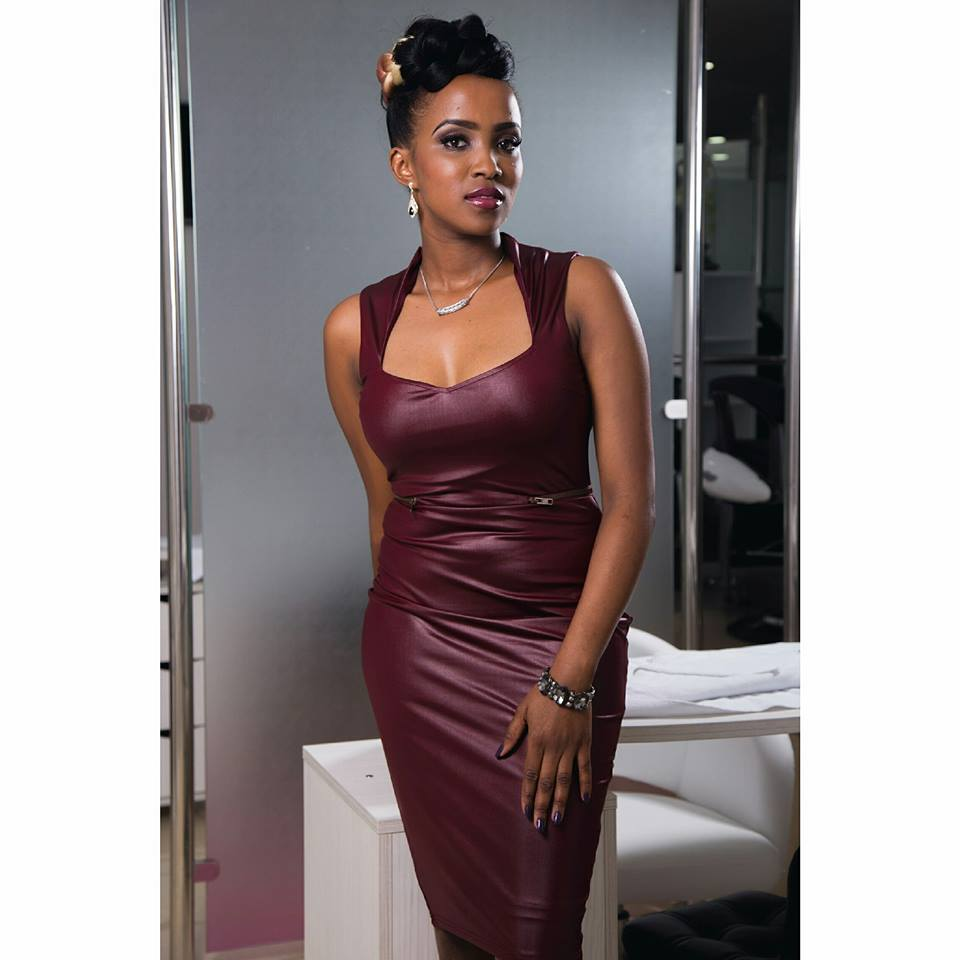 Maroon Leather Dress With Sweetheart Neck