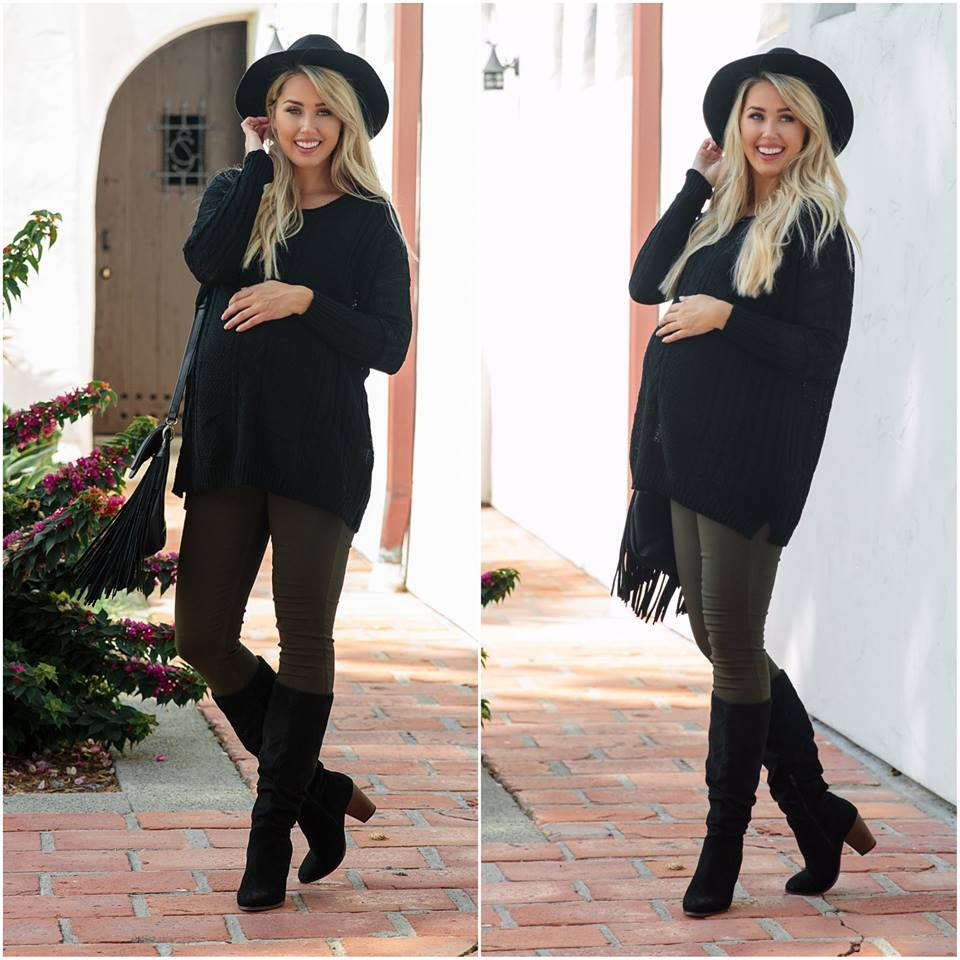 Marvellous Black Cable Knit Oversized Sweater Paired With Legging, High Shoes And Hat