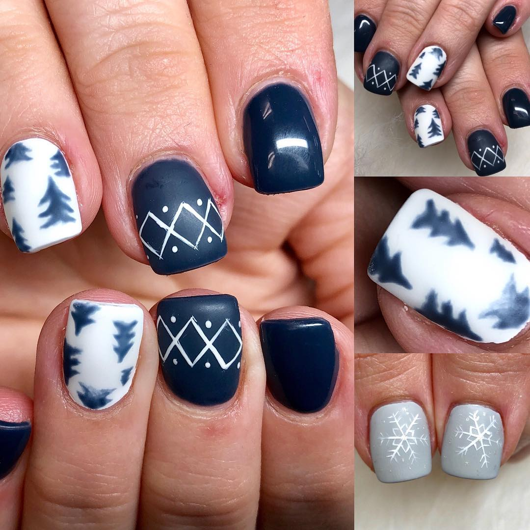 Marvelous Handpainted Blue, White And Grey Nails With Tree And Snowflakes