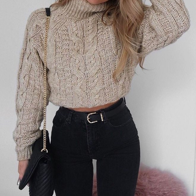 Marvelous Knit Cable Style Sweater With Jeans