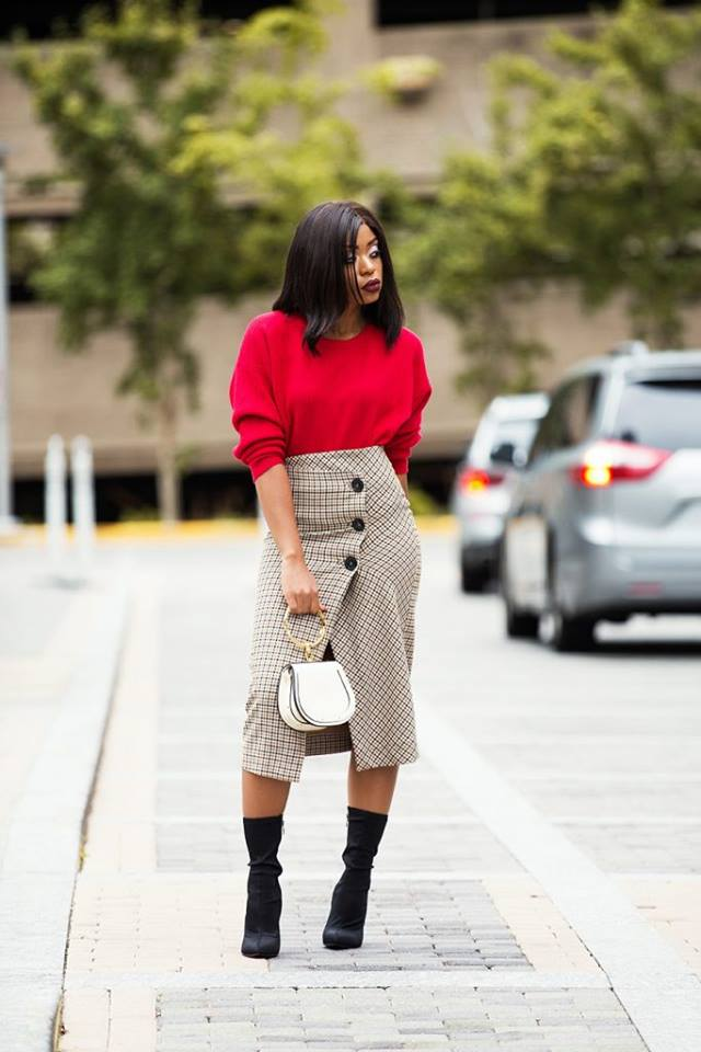 Marvelous Red Sweater With Stylish Skirt