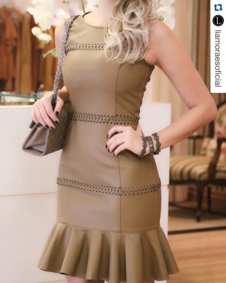 Modish Peanut Leather Dress With Matching Purse
