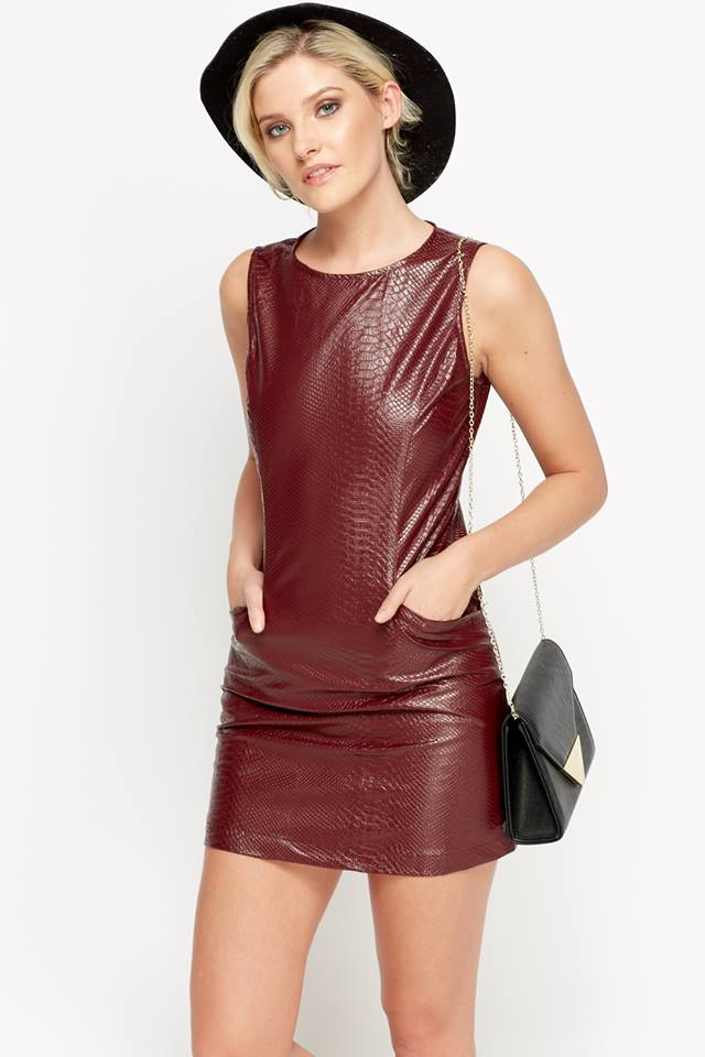 Mulberry Round Neck Leather Dress With Hat