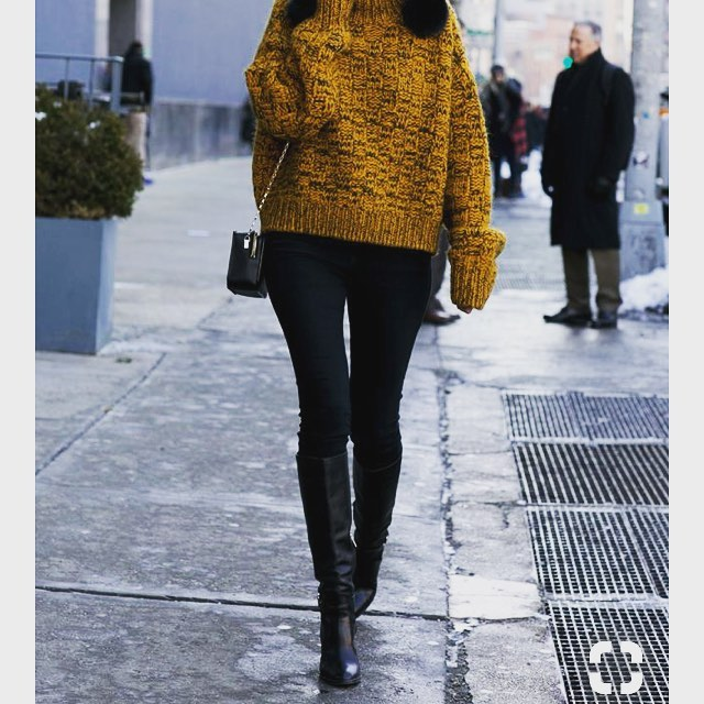 Mustard Knit Loose Sweater With Black Jeans