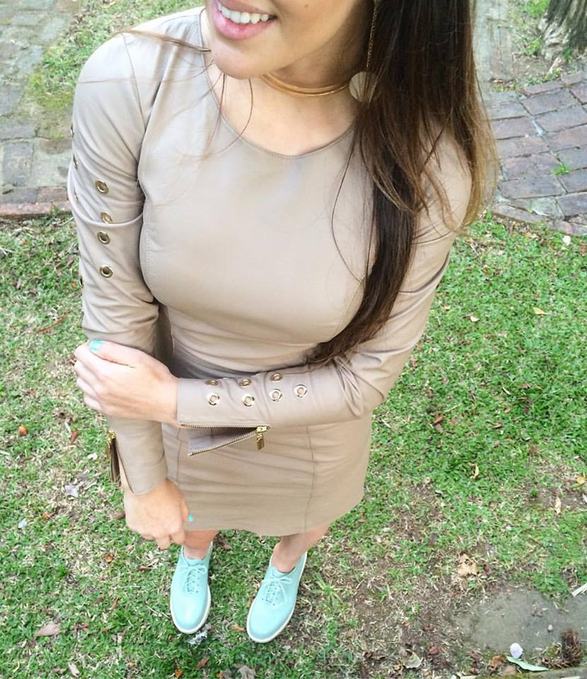 Natural Pearl Full Sleeves Leather Dress