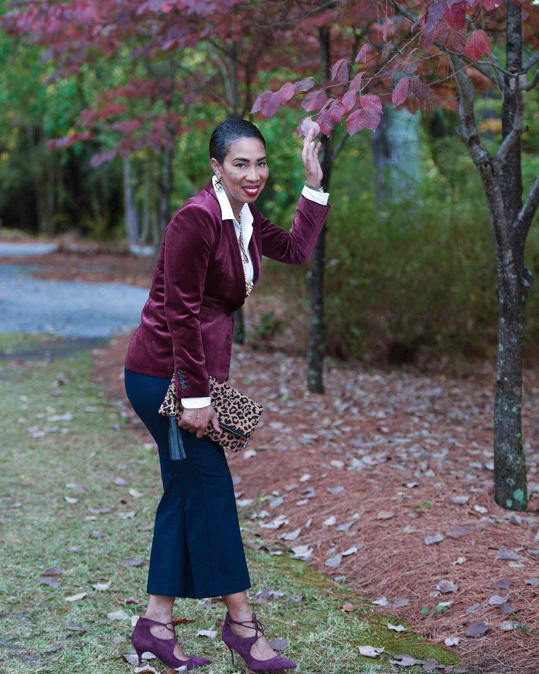 Navy Blue Cropped Pant, White Button Down Shirt, Veleet Jacket With Leopard Purse