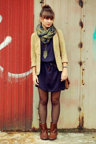 Navy Blue Dress, Yellow Jacket With Printed Scarf And Ankle Boots