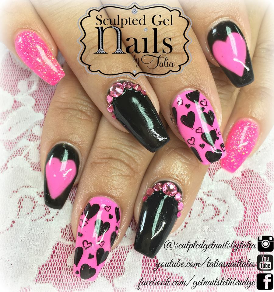 Neon Pink & Black Heart Nails With Swarovski Crystal
