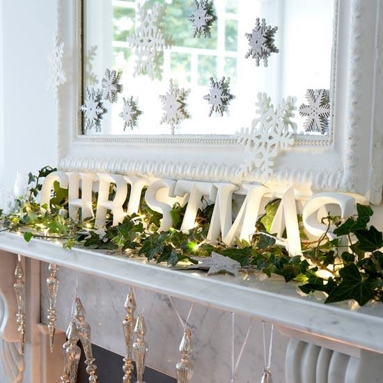 Nice Christmas Mantel Decoration With Snowflakes, Fairy Lights And Silver Ornaments