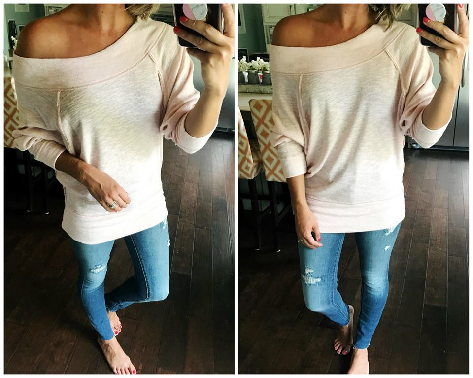 Nice Off One Shoulder Oversized Sweater Paired With Denim Jeans