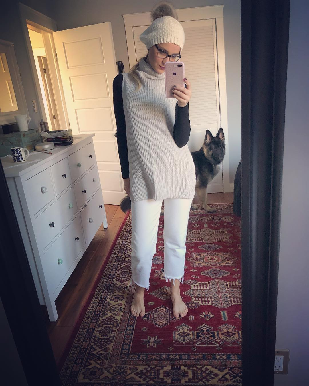 Nice White Ribbed Sweater With White crop Pant And Woolen Cap