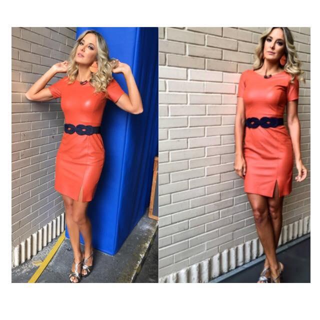 Orange Leather Dress With Designer Waist Belt