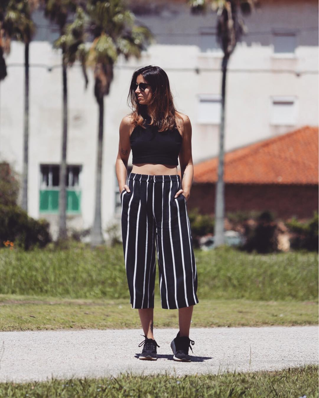 Outstanding Black With White Stripes Crop Pant With Black Crop Top
