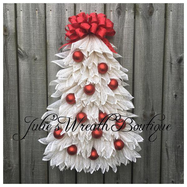 Outstanding White Poly Burlap Christmas Tree Decorated With Red Ornaments