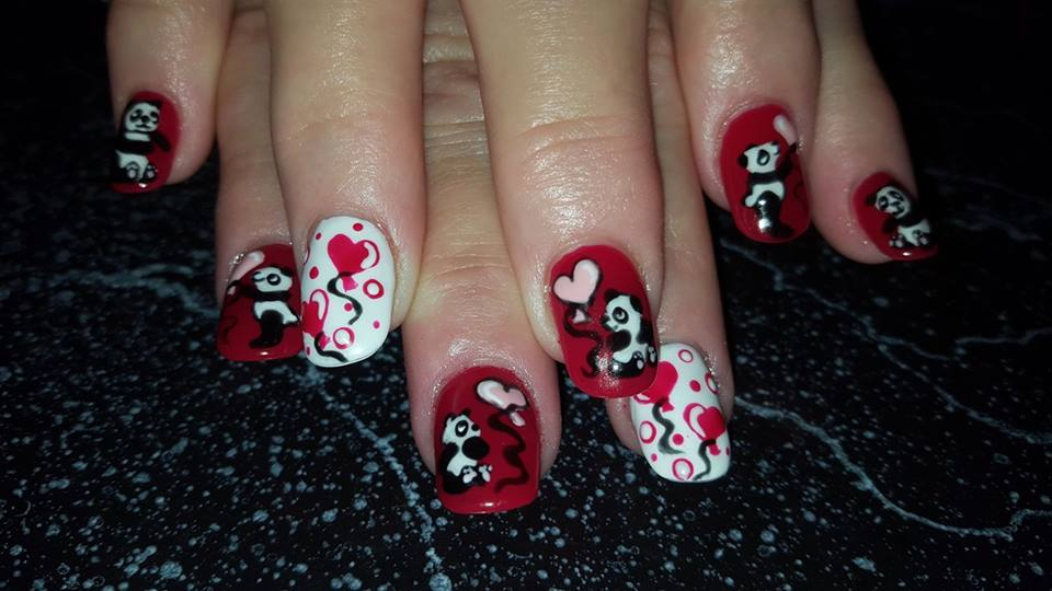 Panda Bear With Hearts On Nails