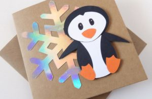 Penguin card for Christmas. Pic by hayleyroxannacrafts