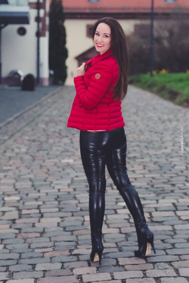 Perfect Combination Of Fall Season Leather Pant With Red Warm Jacket