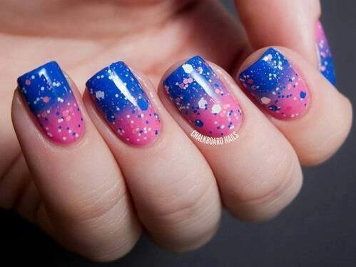 Pink & Blue Sparkle Double Shades Nails