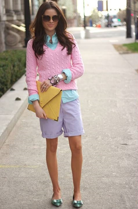Pink Knit Short Sweater With Stripes Light Blue Shirt And Shorts