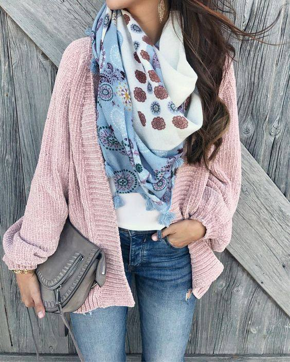 Pink Open Sweater, Printed Scarf With White Top And Jeans