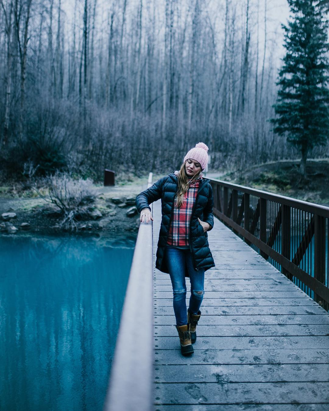 Plaid Shirt With Ripped Jeans, Warm Cap And Fluffy Hoodies Jacket