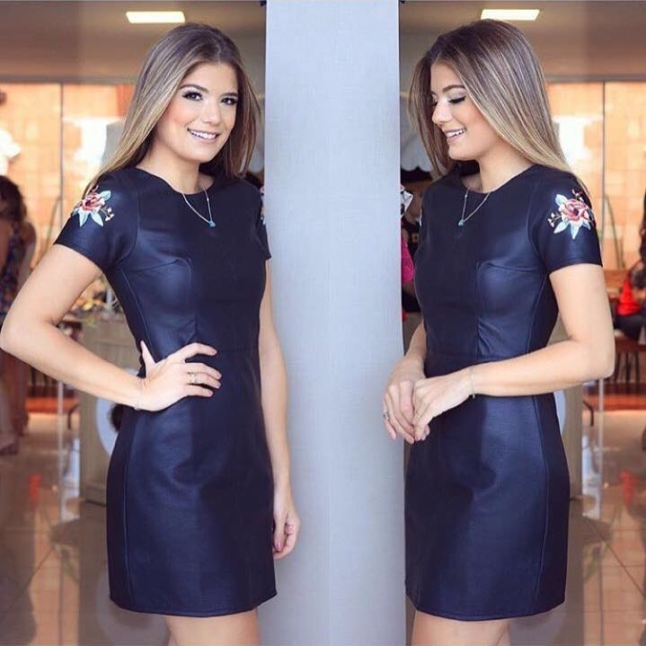 Plain Navy Blue Leather Dress