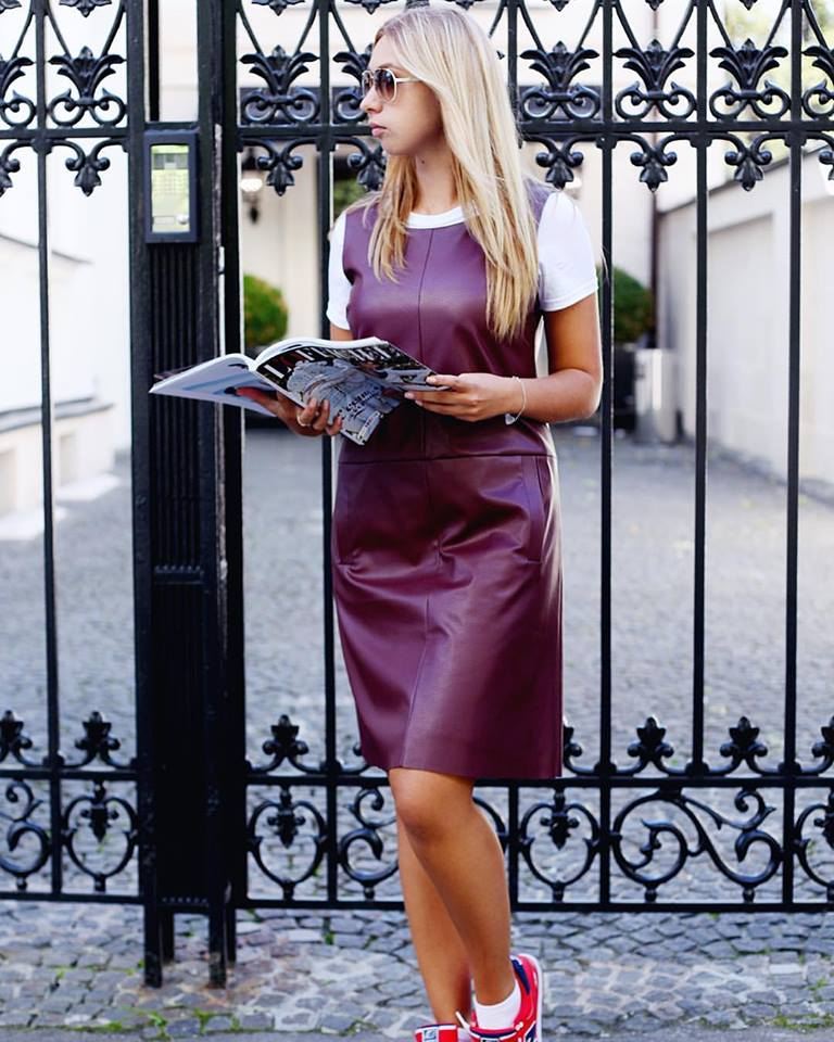 Plum With White Leather Dress