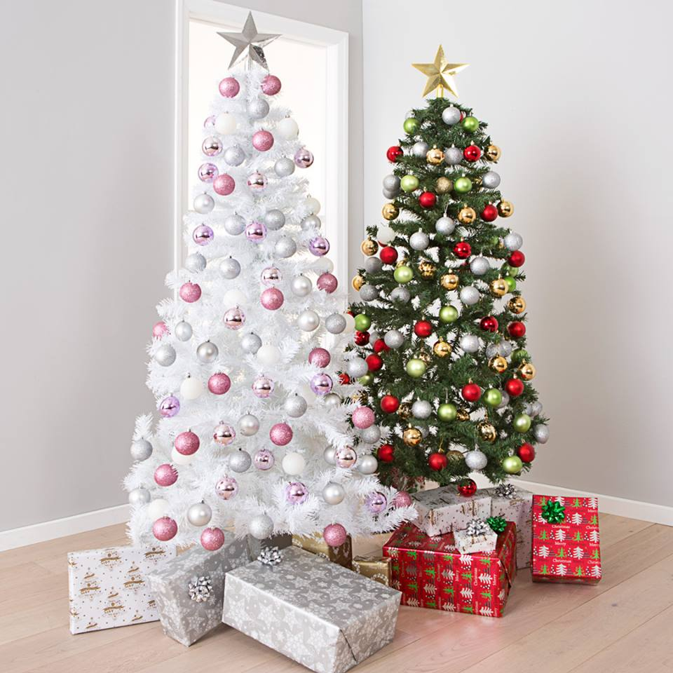 Pink And White Christmas Tree Decorations