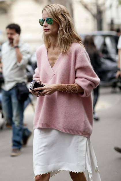 Pretty Pink Oversized Sweater Paired With White Short Wrap Skirt