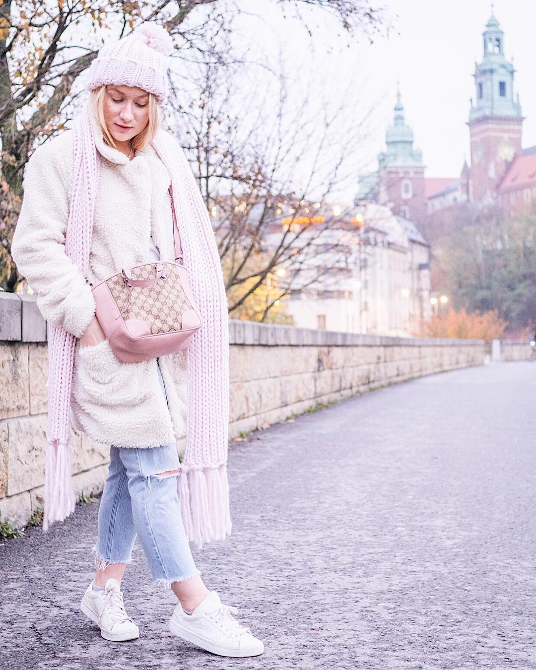 Pretty Pink Teddy Bear Coat With Ripped Jeans And Knitted Scarf And Cap