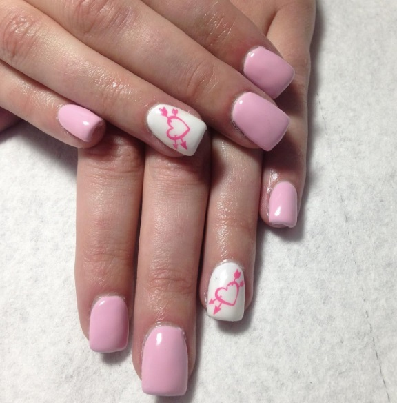 Pretty Pink & White Nails With Hearts