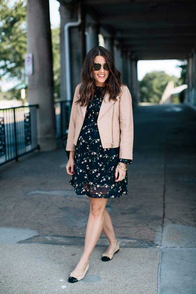 Printed Short Dress With Pink Leather Jacket
