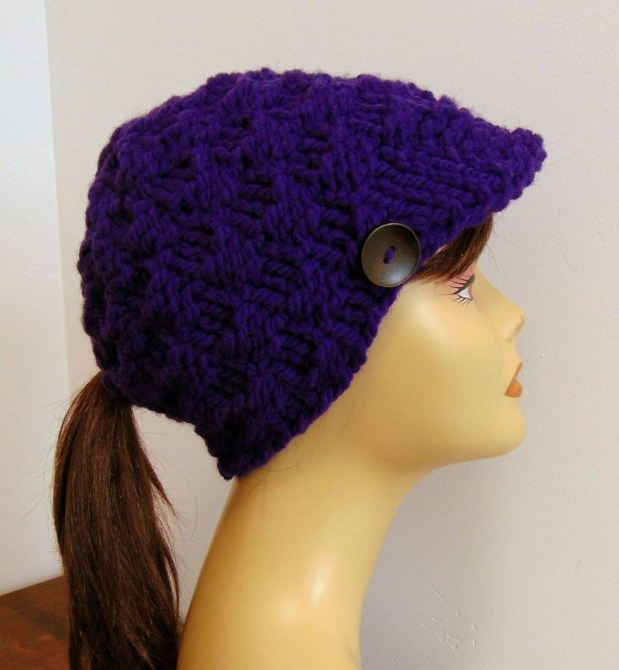 Purple Cap With Button