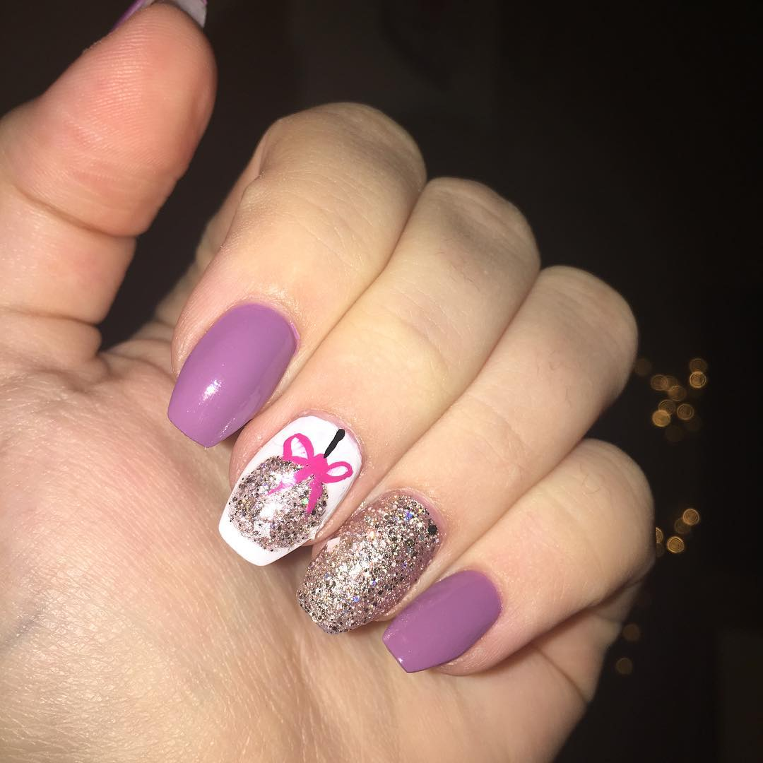 Purple Glitter Acrylic Nails