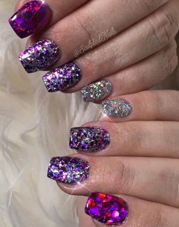 Purple and silver glitter nails. Pic by sculptednails