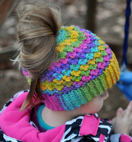 Rainbow Colors Ponytail Or Messy Bun Cap