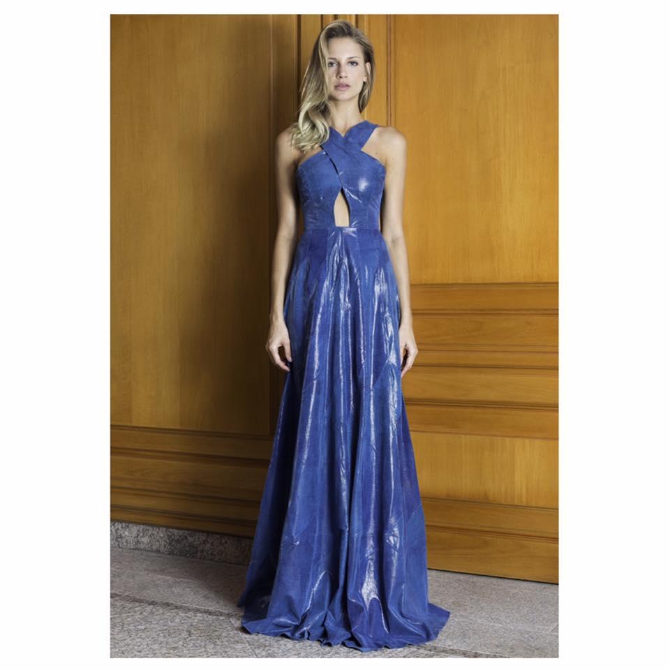 Ravishing Blue Halter Neck Leather Gown
