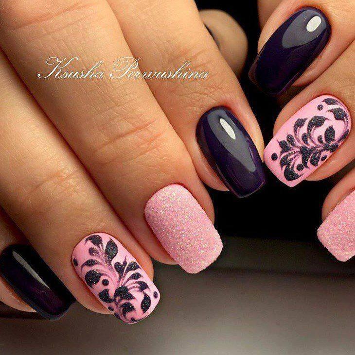 Ravishing Pink & Black Artistic Nails